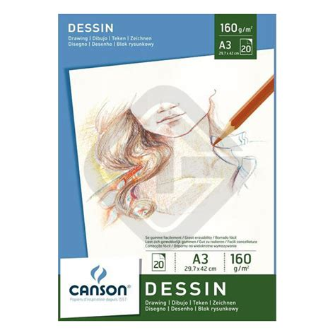 Canson Drawing Paper 110gsm A3 canson white drawing paper pads graphicint
