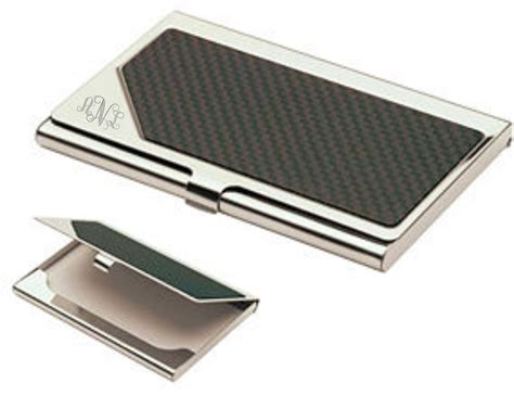 Silver Gift Items Monogrammed Carbon Fiber Business Card Holder