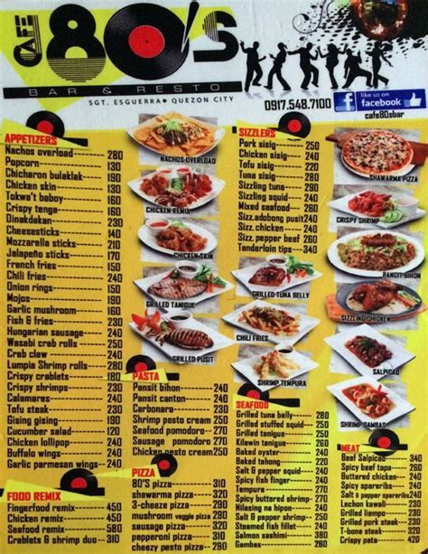 80s dinner menu cafe 80 s bar resto menu zomato philippines