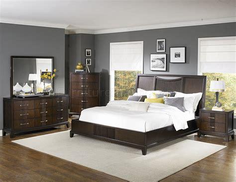 espresso finish contemporary bedroom w optional items