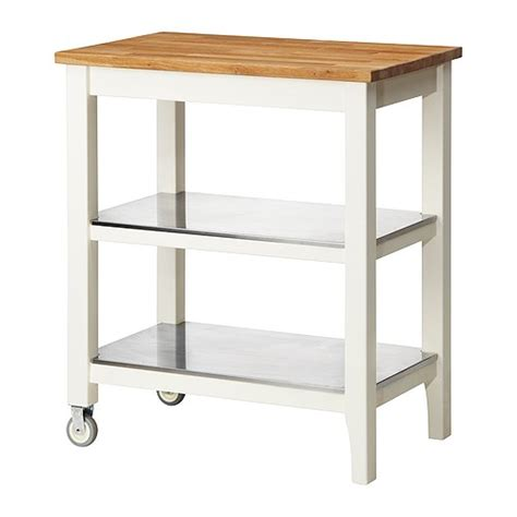 ikea stenstorp kitchen cart in oak with stainless steel