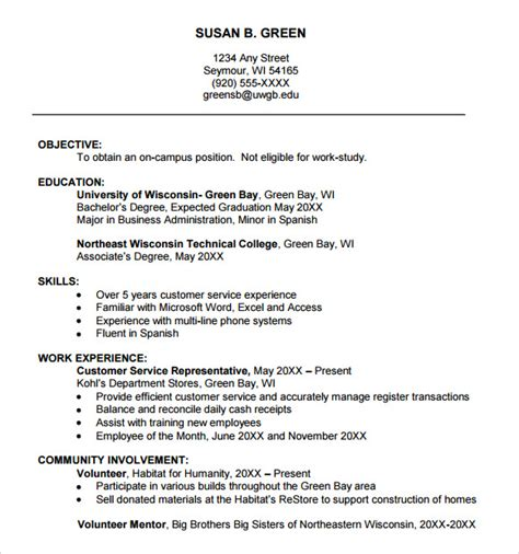 Resume Template College by 9 Sle College Resume Templates Free Sles