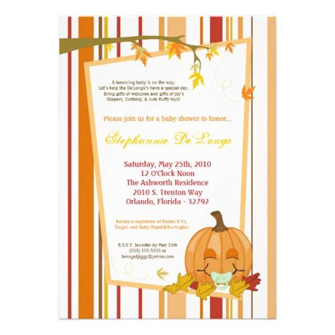 Fall Baby Shower Invites by 5x7 Autumn Fall Pumpkin Baby Shower Invitation