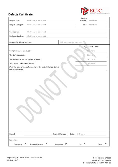 Certificate Of Defects Template defects certificate engineering construction