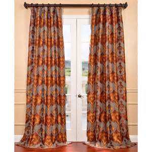 rust drapes borneo rust ikat jacquard curtain panel
