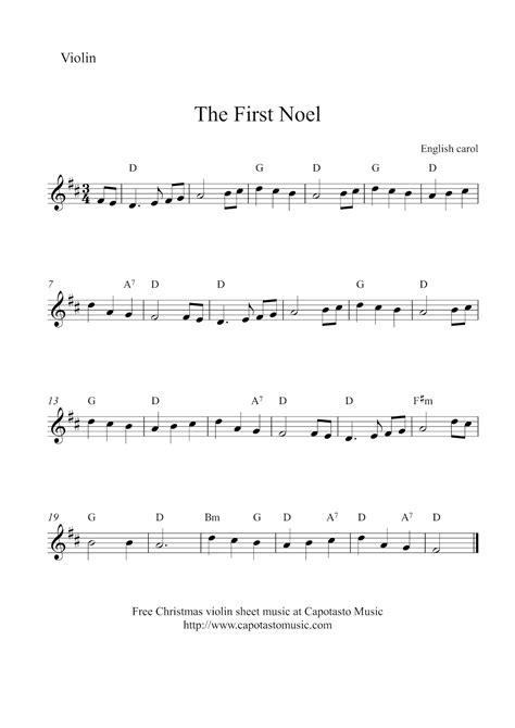 printable christmas violin sheet music free free christmas violin sheet music the first noel