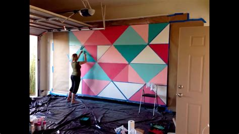 Garage Designs Ideas how to paint a giant geometric feature wall mural youtube