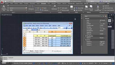 autocad tutorial with exle import xy coordinate from excel into autocad youtube