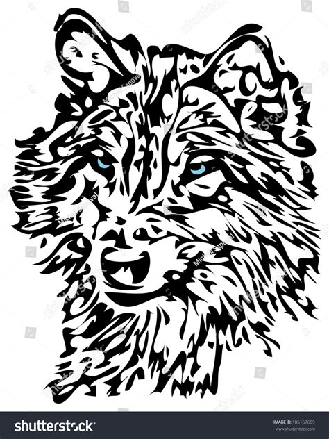 tribal wolf blue eyes animal tattoo stock illustration