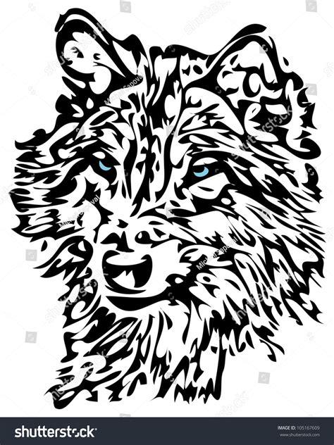 tribal wolf blue eyes animal tattoo stock illustration