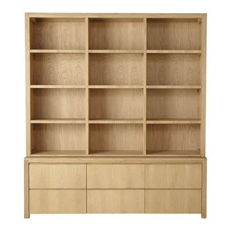 Solid Oak Bookcase Solid Oak Bookcase W 195cm Danube Maisons Du Monde