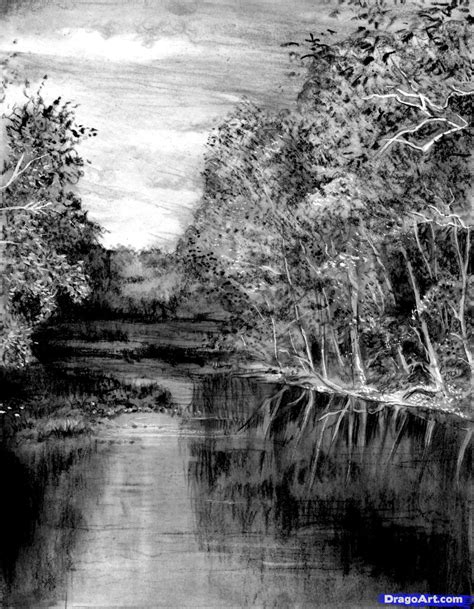 how to draw a realistic river step by step landscapes