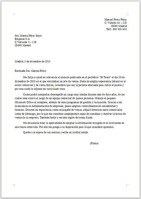 Modelo Curriculum Jefe De Ventas Ejemplo De Carta De Presentaci 243 N Para Jefe De Ventas