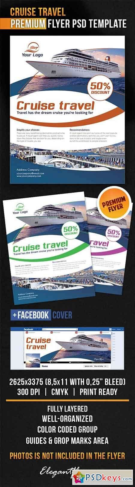 cruise travel flyer psd template facebook cover 187 free