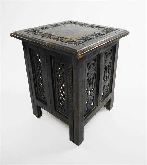 antique end tables ebay beautiful antique effect carved indian wooden table