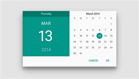 material design calendar library pickers components google design guidelines ui