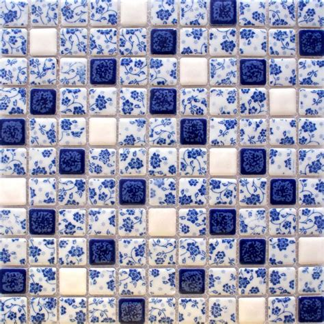 Floor Tiles Design by Blue And White Tile Glossy Porcelain Mosaic Bathroom Tiles