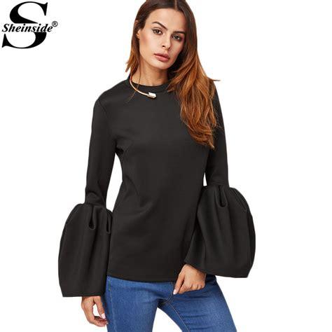 Blouse Fashion Black sheinside office blouse womens sleeve black blouse korean style new black bell sleeve