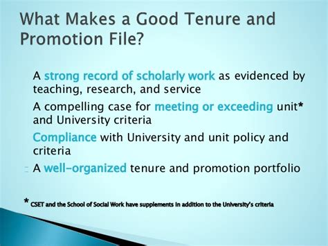 Mba Admission What Makes You A Compelling Candidate by Jsu Tenure And Promotion Overview September 2014