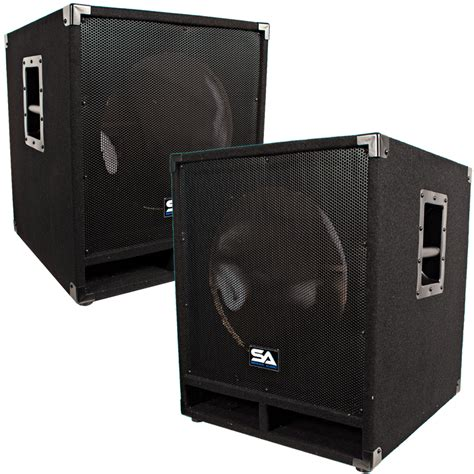 dj speaker box cabinet seismic audio pair of empty 15 inch pro audio subwoofer