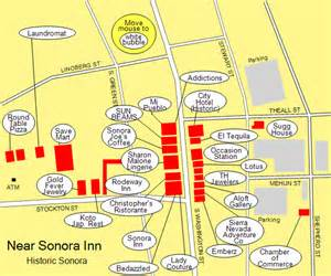 sonora california historic downtown map based visitor guide