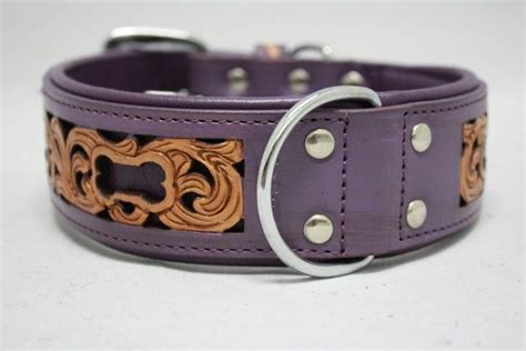 western collars genuine leather purple western collar 26 quot x 2 quot tooled carved inlay