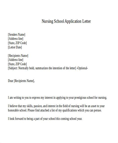 application letter nursing college 36 application letter sles free premium templates