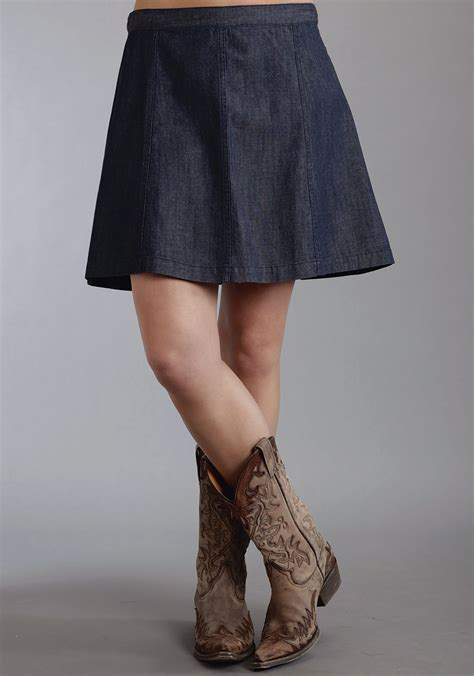 stetson 174 denim flared western skirt