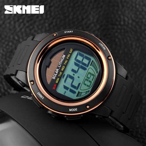 Jam Tangan Skmei 1096 Jam Tangan Solar Power Digital Black Blue skmei jam tangan tenaga solar pria dg1096 black gold