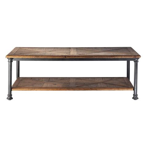recycled wood and metal coffee table w 135cm fontainebleau