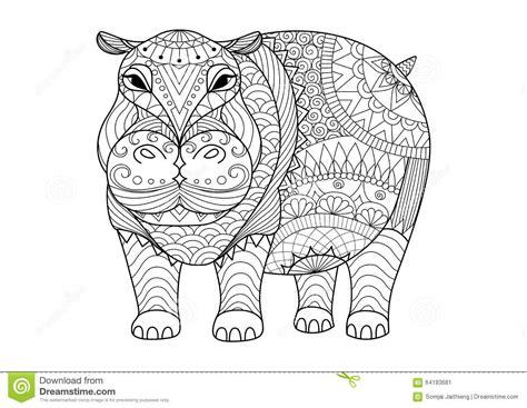 Hippopotame Tir 233 Par La Main De Zentangle Pour Livre De