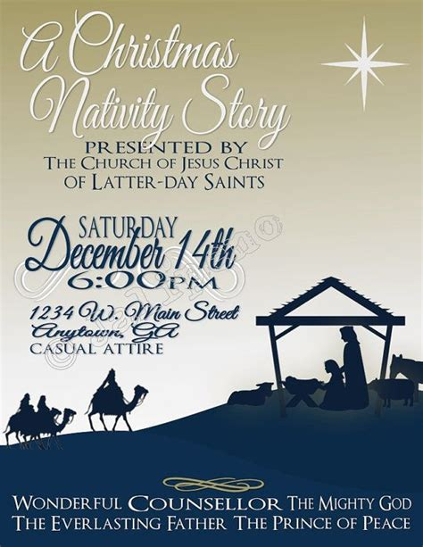 Christmas Nativity Presentation Poster Flyer Invitation Advertisement Digital Custom Printable Nativity Flyer Template