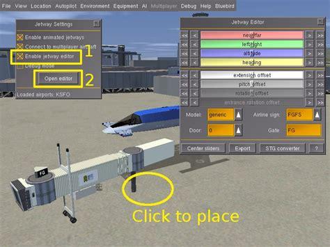 Airport Design Editor Add Jetway | howto animated jetways flightgear wiki