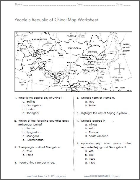 china free printable map worksheet for grades 4 6 ccss