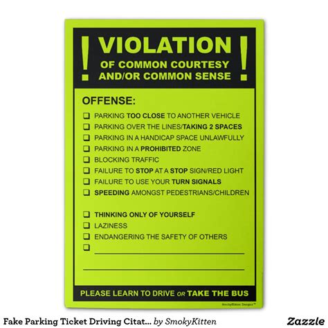 joke parking tickets printable uk fake parking ticket driving citation post it 174 notes i so