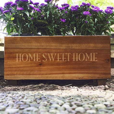 Personalized Planters by Personalized Stained Rustic Wood Planter Box
