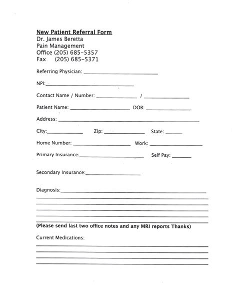 patient referral form template patient information dr beretta