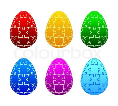 printable easter egg puzzle easter eggs of the puzzle stock vector colourbox