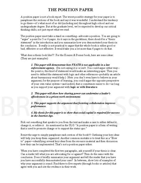 research position paper a thesis statement for research paper