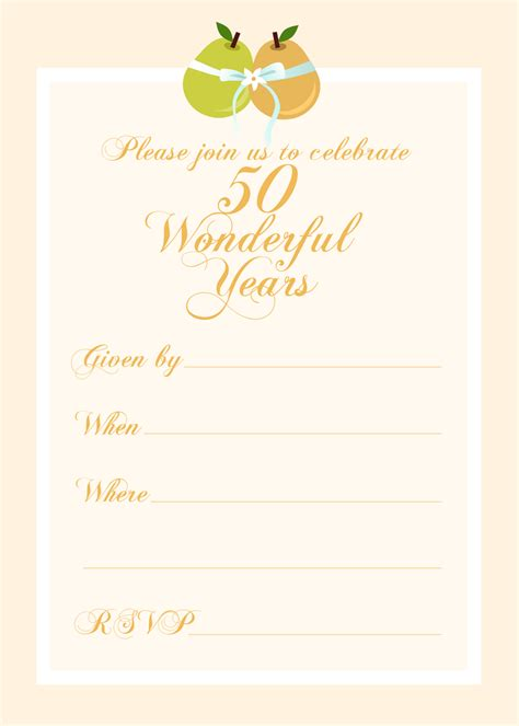 50 anniversary invitations templates free printable invitations free 50th wedding