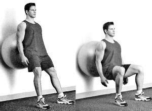 wall squats swiss ball wall squat health  fitness