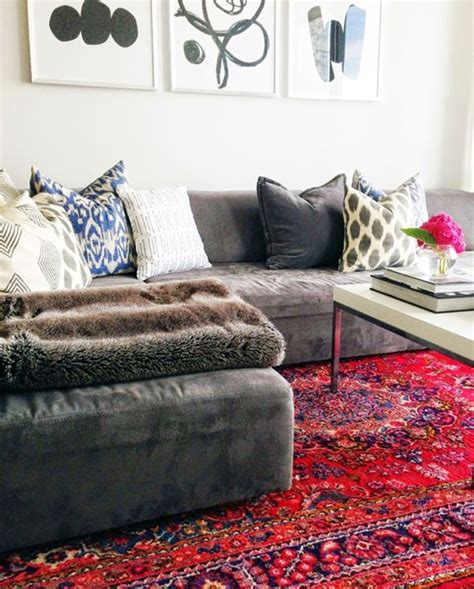 Red Faux Leather Sofa Decorating With Oriental Amp Persian Rugs Emily A Clark