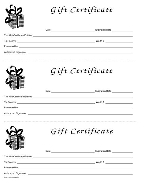 gift card templates for pages blank gift certificate template free