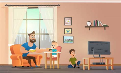 kids playing living room illustrations royalty