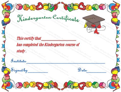 hats off kindergarten diploma certificate template award