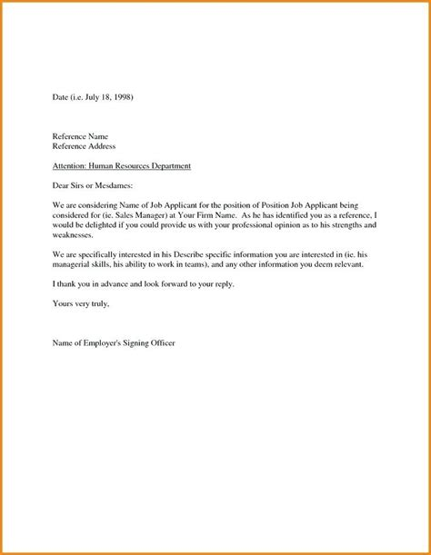 template for letter of recommendation from employer sle letter of recommendation for employment from an
