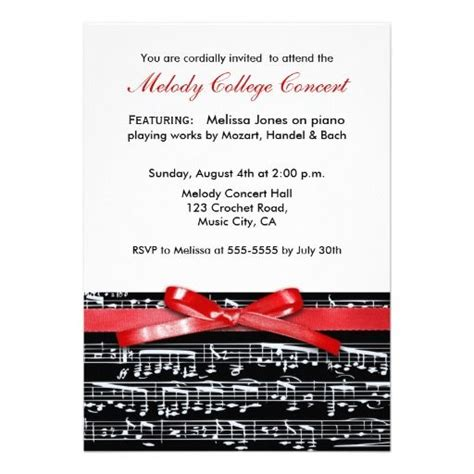 17 Best Images About Recital Invitations On Pinterest Recital Sheet Music And Free Invitation Concert Invitation Template