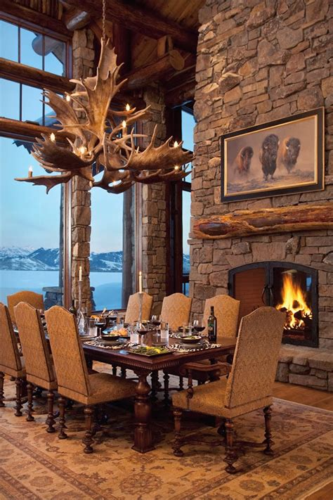rustic dining room a luxury lodge in wyoming interior