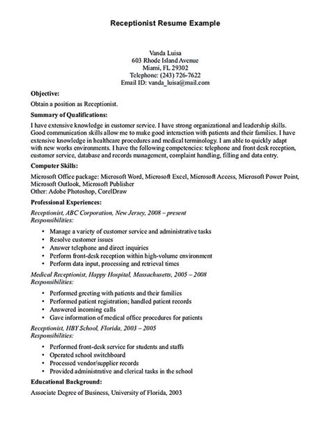 resume templates for receptionist position receptionist resume template receptionist resume is