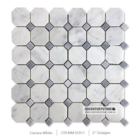 1 octagon shaped floor tiles 2 quot x2 quot grey mma octagon white carrara marble mosaic